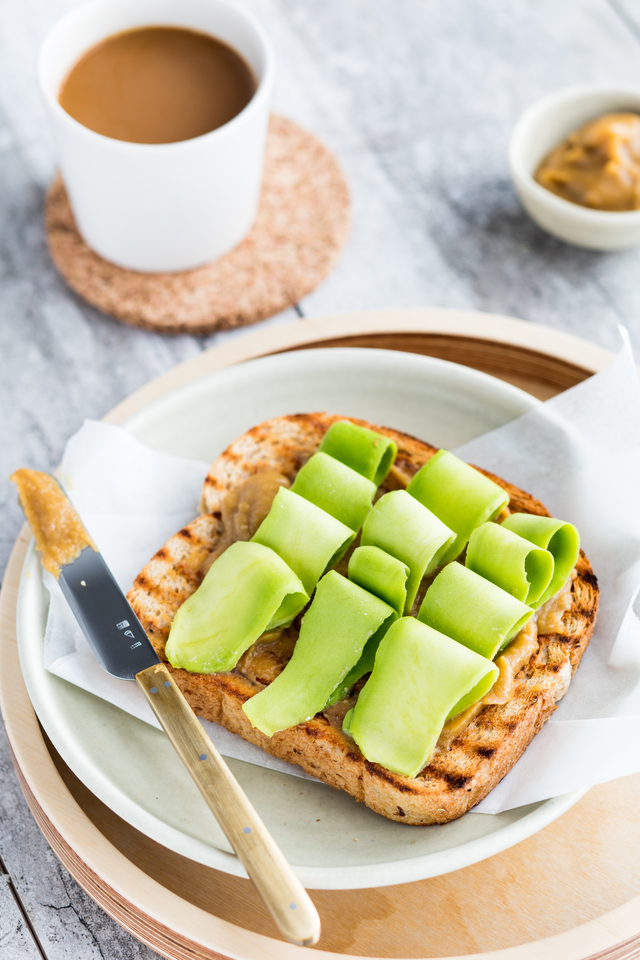 Kaya Toast with avocado slices