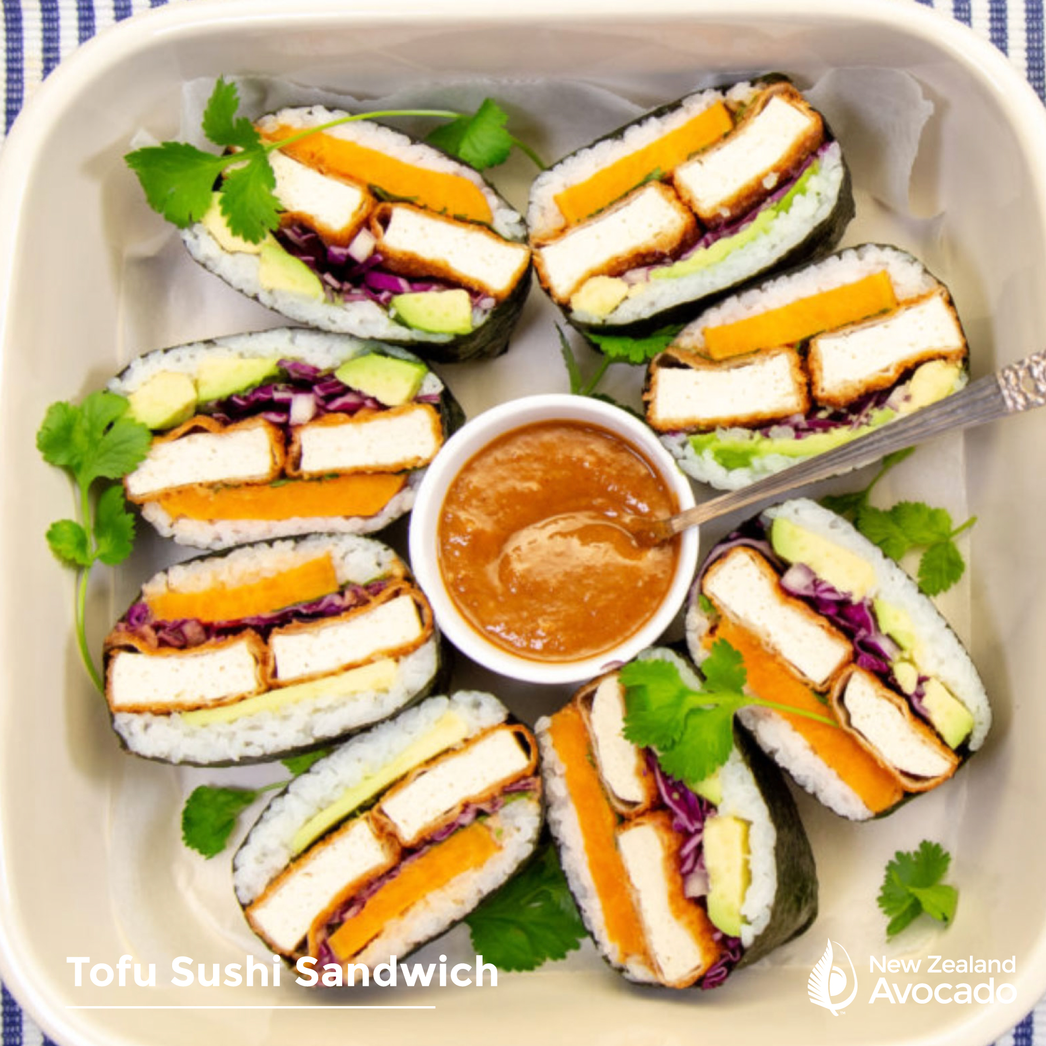 Avocado & Tofu Sushi Sandwich with Tahini Sauce
